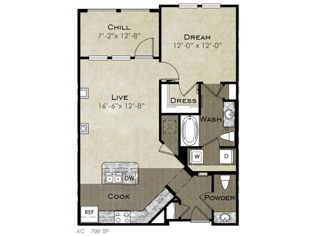 799 sq. ft. Ellington floor plan