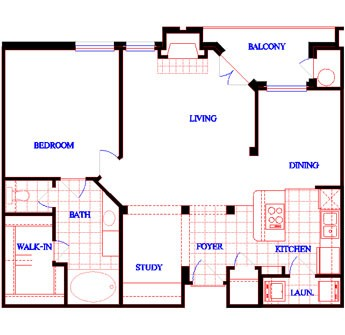 836 sq. ft. A2 floor plan