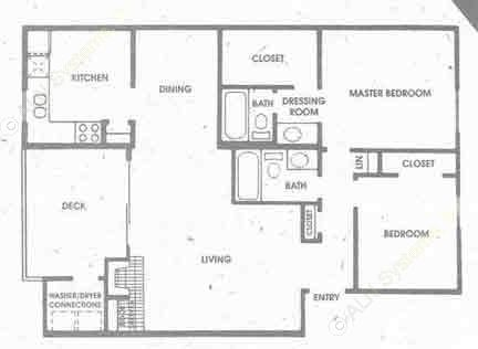 1,034 sq. ft. B2 floor plan