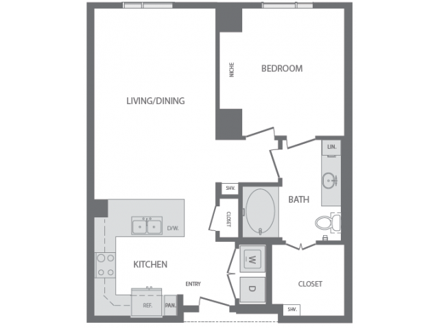 804 sq. ft. to 975 sq. ft. E floor plan