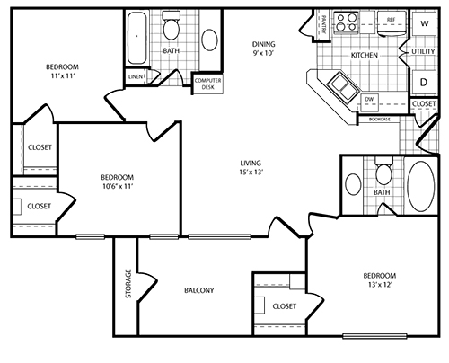 1,217 sq. ft. C1 floor plan