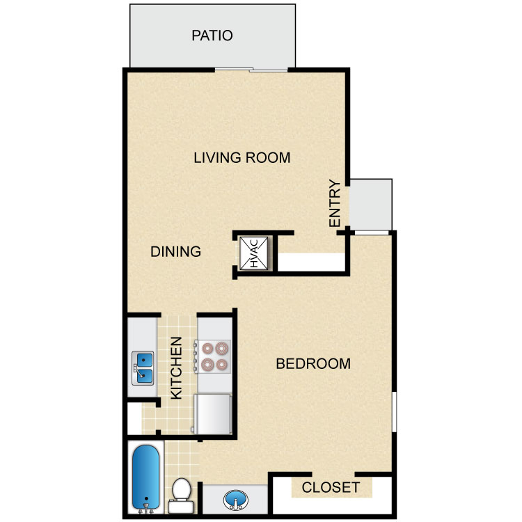 599 sq. ft. floor plan