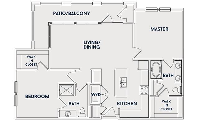 1,216 sq. ft. B3 floor plan