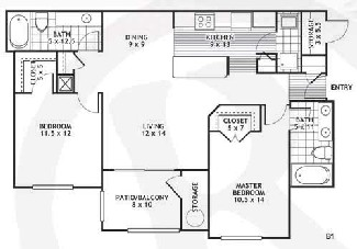 1,043 sq. ft. B1/Laredo floor plan
