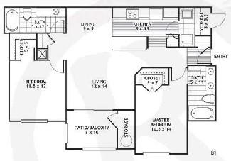 1,043 sq. ft. B1/LAREDO floor plan