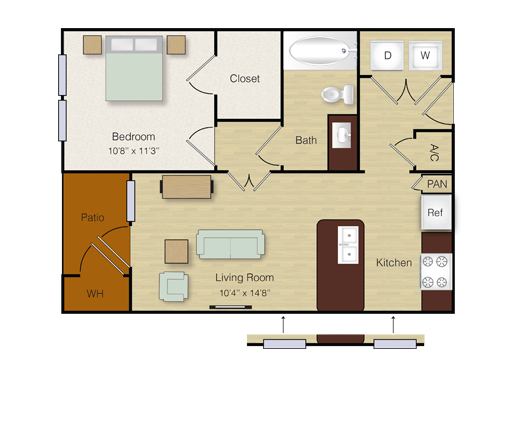 557 sq. ft. A3 floor plan