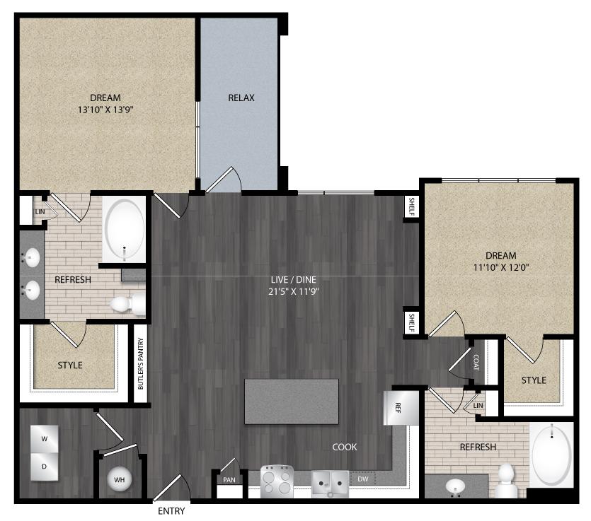 1,305 sq. ft. B2 floor plan