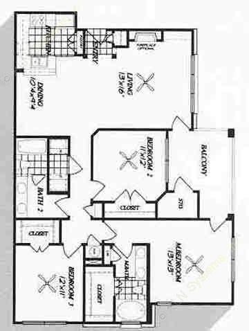 1,362 sq. ft. C1 floor plan