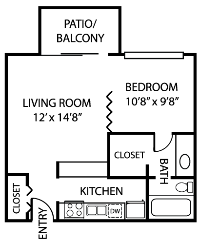 506 sq. ft. E1 floor plan