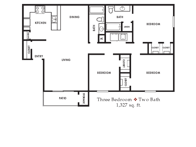 1,327 sq. ft. floor plan