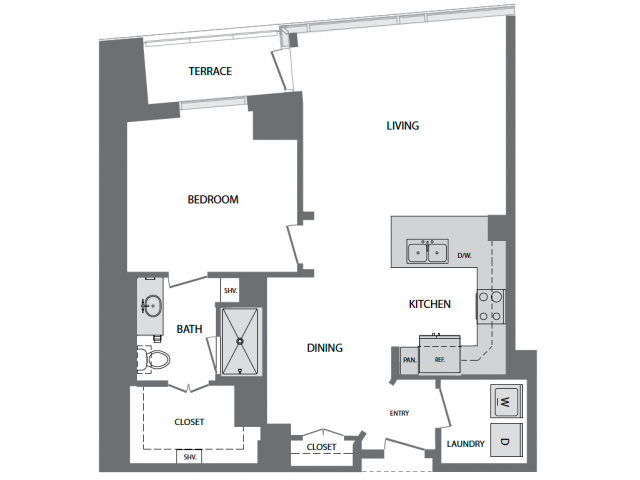 956 sq. ft. I floor plan