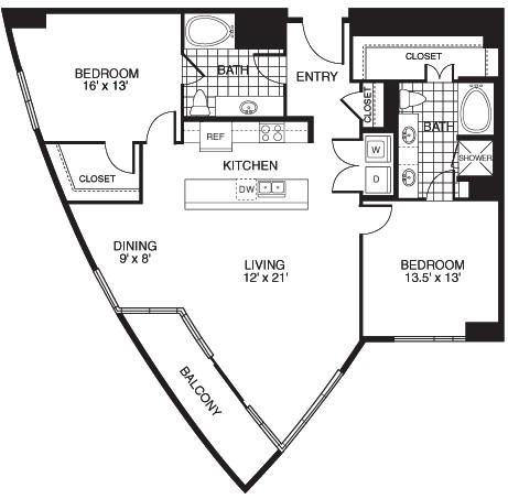 1,510 sq. ft. B5/TOWER floor plan