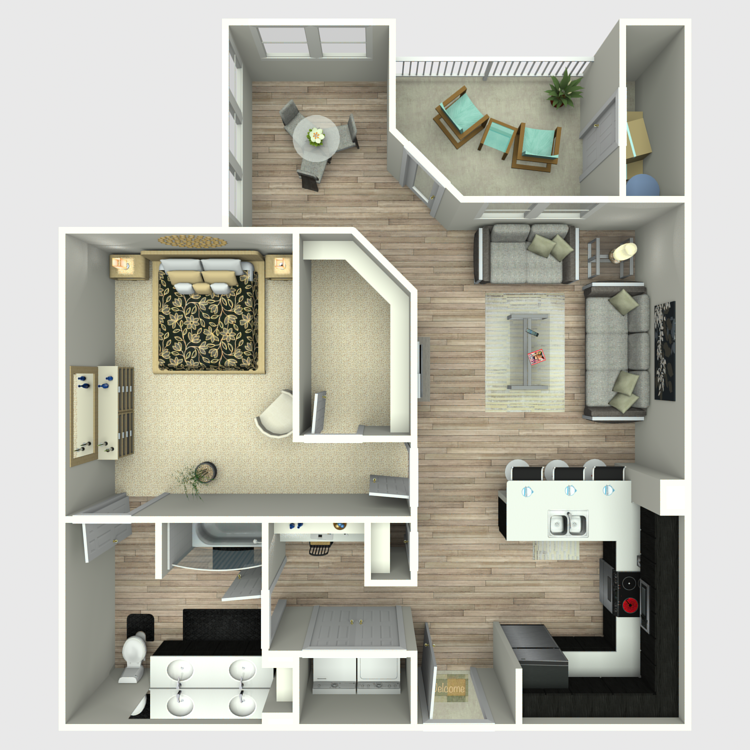 921 sq. ft. A6 floor plan