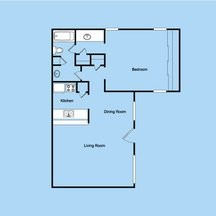 700 sq. ft. 1-1S floor plan