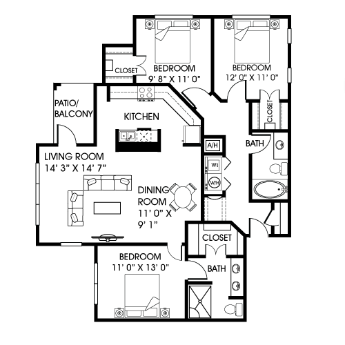 1,317 sq. ft. C1 floor plan