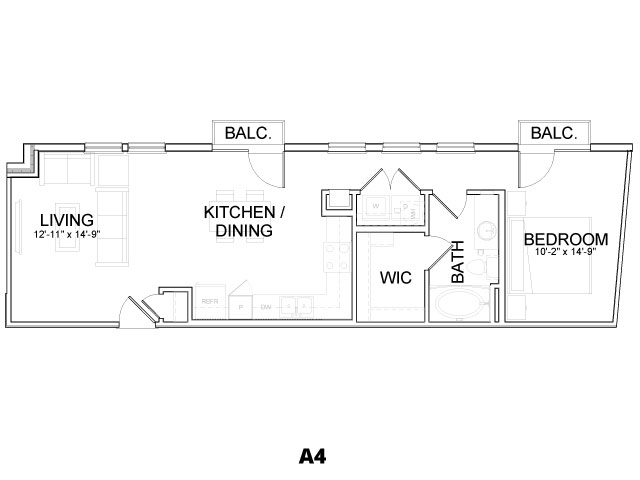 762 sq. ft. A4 floor plan