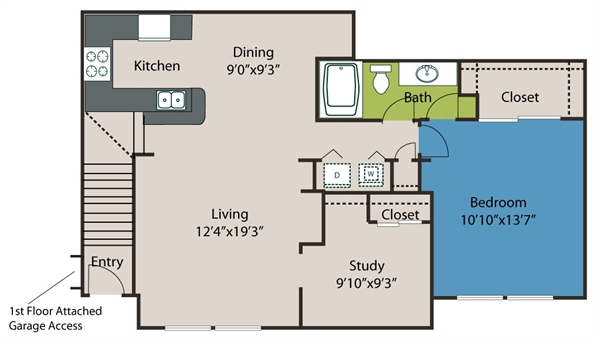 1,020 sq. ft. A3 floor plan
