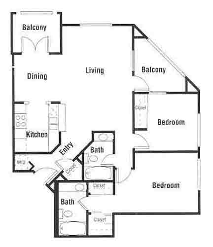 931 sq. ft. B1 floor plan
