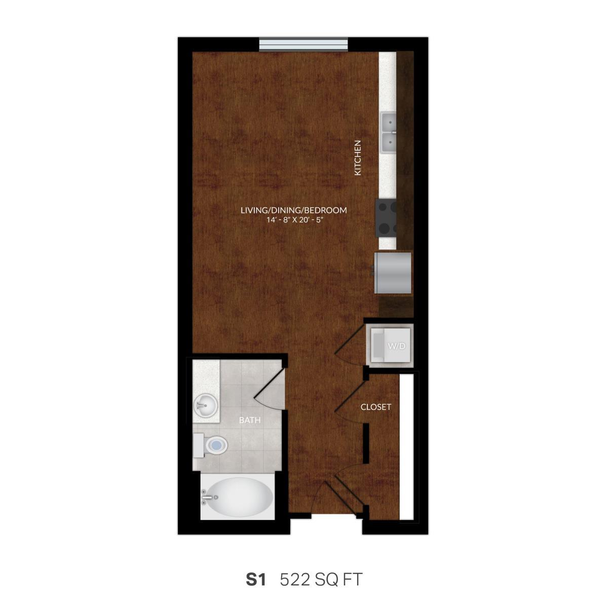 522 sq. ft. S1A floor plan