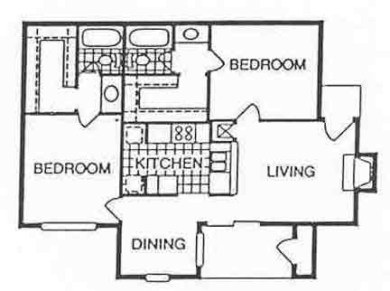 975 sq. ft. Marina floor plan