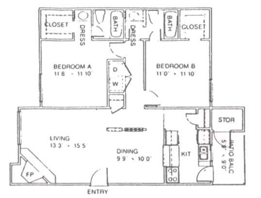 1,041 sq. ft. E floor plan