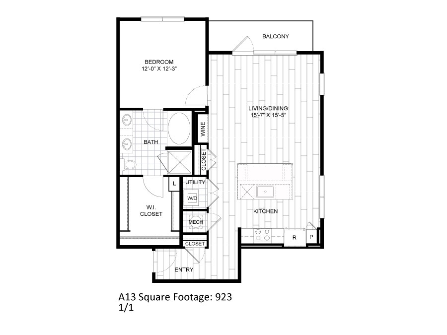 923 sq. ft. A13 floor plan