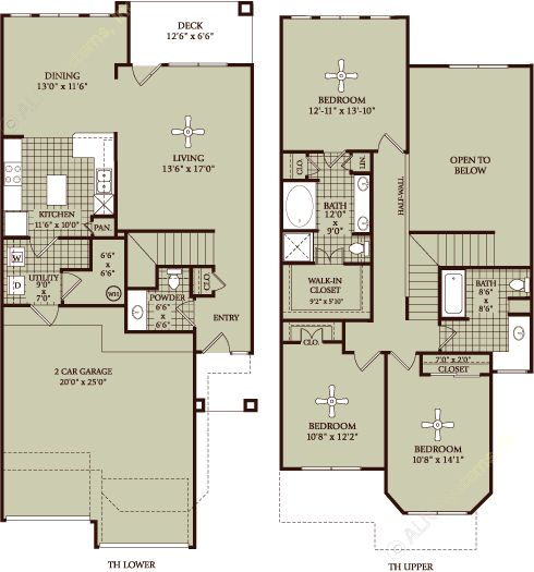 1,721 sq. ft. TH floor plan