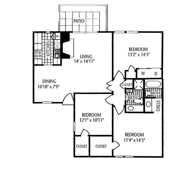 1,216 sq. ft. C-1 floor plan