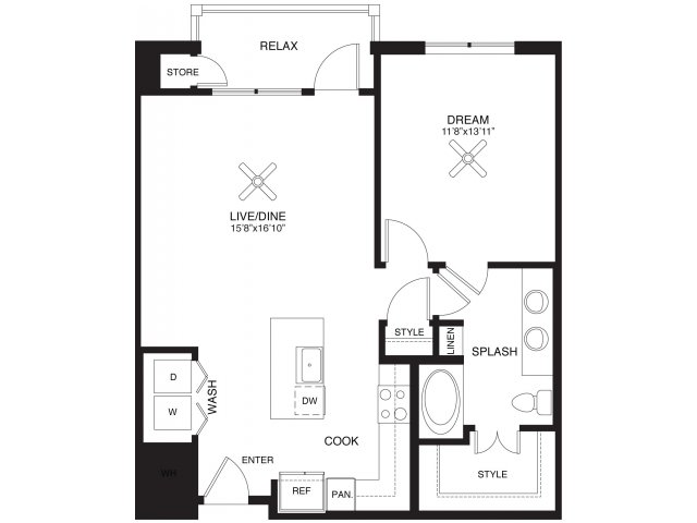 849 sq. ft. Moody floor plan