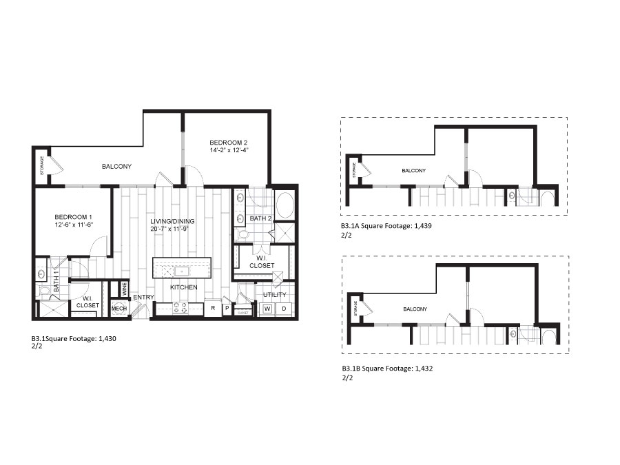 1,430 sq. ft. B3.1 floor plan