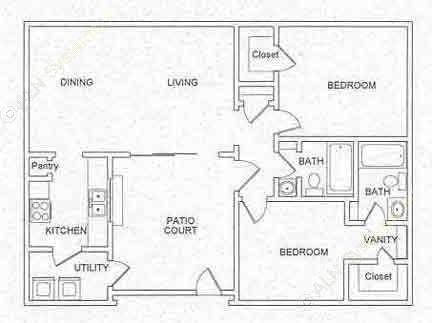 1,000 sq. ft. B4 floor plan