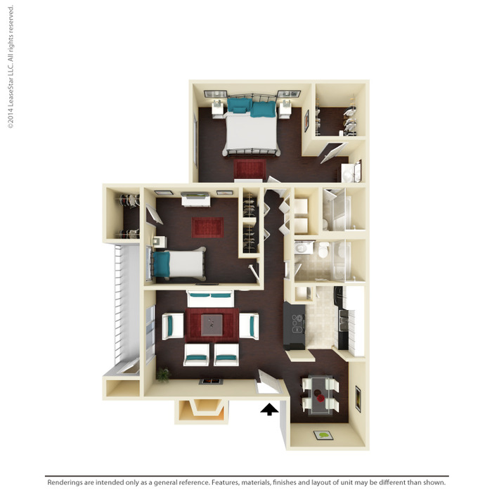 963 sq. ft. B3 floor plan