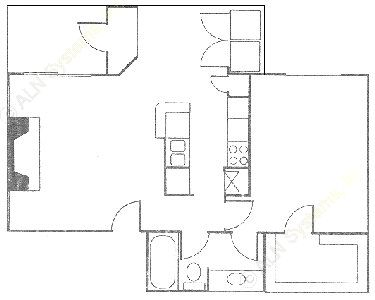 735 sq. ft. Drake floor plan