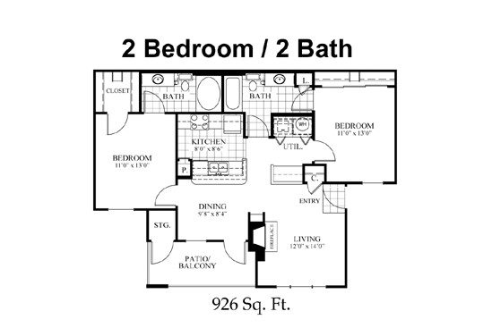 926 sq. ft. B1 floor plan