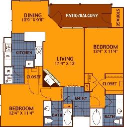 1,164 sq. ft. OAK/B3 floor plan
