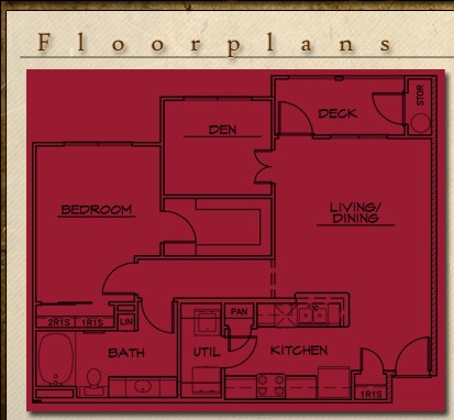 892 sq. ft. Torino floor plan