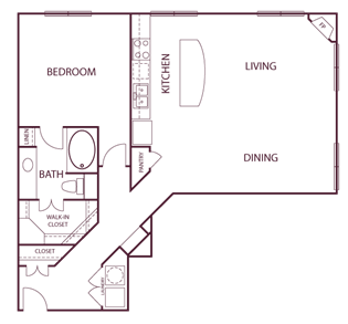 1,055 sq. ft. A6 floor plan