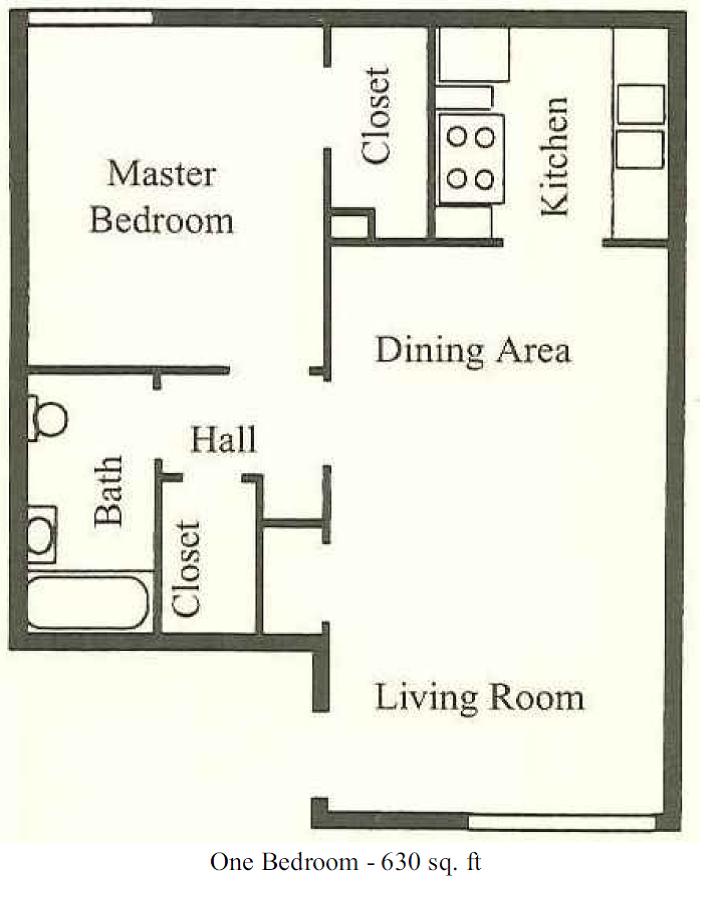 630 sq. ft. floor plan