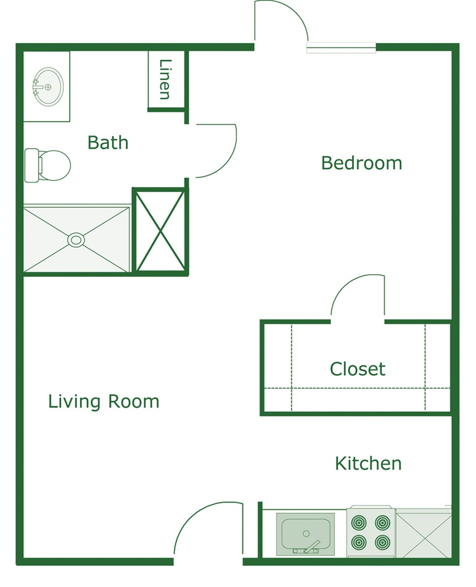 416 sq. ft. Oxford floor plan