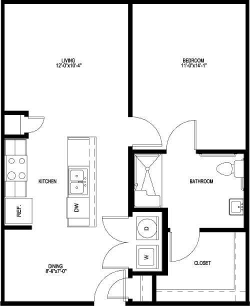 698 sq. ft. A1-HC-II floor plan