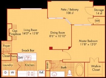 819 sq. ft. A21 floor plan