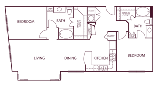 1,230 sq. ft. B7 floor plan
