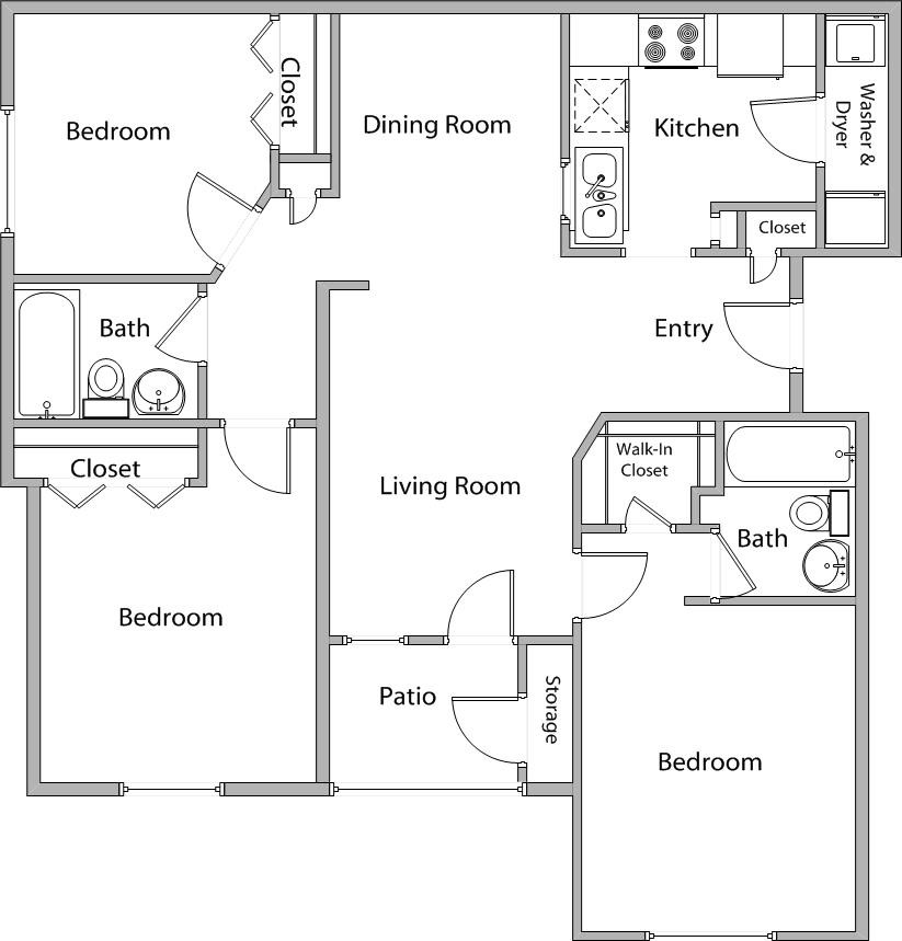 1,029 sq. ft. C 60% floor plan