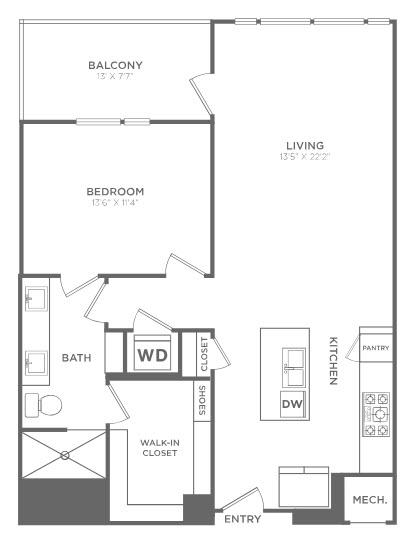 979 sq. ft. TA4 floor plan