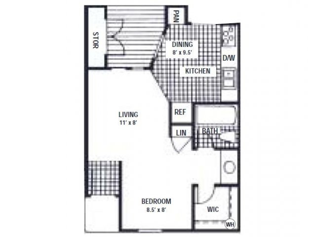 404 sq. ft. EFF floor plan