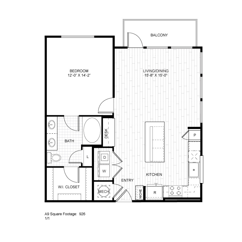 926 sq. ft. A9 floor plan