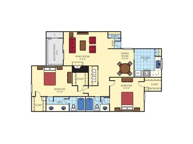 970 sq. ft. Helmsdale (B2) floor plan