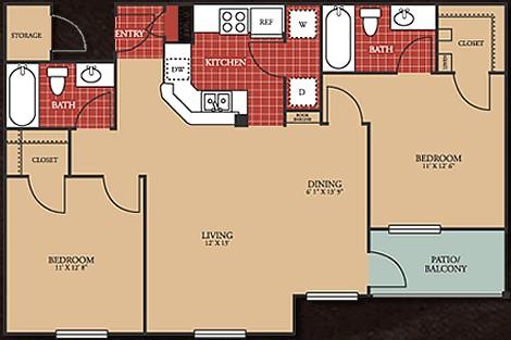 973 sq. ft. 60% floor plan