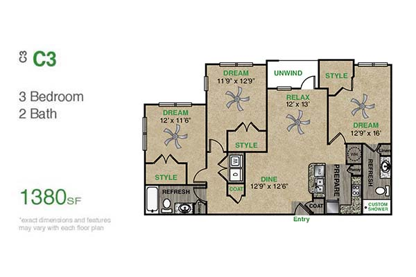 1,380 sq. ft. C3.1 floor plan