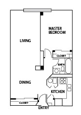 760 sq. ft. B floor plan